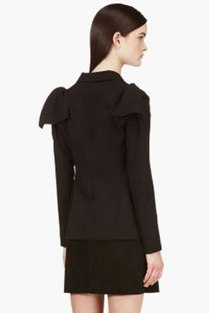 YOHJI YAMAMOTO Black Wool Shoulder Cap Blazer