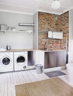 Combination laundry room and mudroom at the back of the house. Why did I never think to combine these two!!