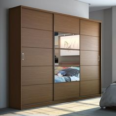 Inspired by the clean lines of Danish furniture craftsmanship, the Manhattan Comfort Adrian Wardrobe with Mirrors in Nut Brown adds a stylishly. Wardrobe Interior Design, Bedroom Cupboard Designs, Wardrobe Design Bedroom, Living Room Sofa Design, Bedroom Closet Design, Bedroom Furniture Design, Home Room Design, Wardrobe Laminate Design, Sliding Door Wardrobe Designs