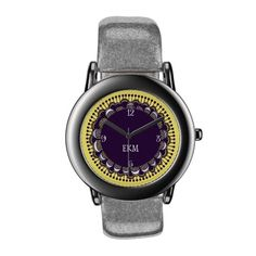 Purple Monogrammed Art Deco Novelty Watch
