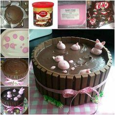 How to DIY Adorable Happy Pig in Mud Cake | www.FabArtDIY.com LIKE Us on Facebook ==> https://www.facebook.com/FabArtDIY
