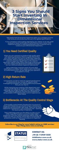 3 Signs You Should Consider Investing In Dimensional Inspection Services!   View the original infographic here: https://create.piktochart.com/output/25964783-invest-in-dimensional-inspection-services  Subscribe to our blog: http://blog.status-cmm.co.uk/blog  Website: http://www.status-cmm.co.uk/  Our Address: Status Metrology Solutions Ltd Measurement House, Lenton Street, Sandiacre, Nottingham. NG10 5DX  Email: info@status-cmm.co.uk Tel: +44 (0) 115939 2228