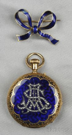 Antique 18kt Gold, Enamel, and Diamond Hunting Case Pocket Watch, Henry Capt