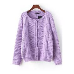 SheIn(sheinside) Purple Round Neck Cable Knit Cardigan ($21) ❤ liked on Polyvore featuring tops, cardigans, round neck cardigan, purple top, cable cardigan, cable knit cardigan and purple cardigan