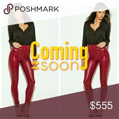 """PYTHON PANT ***Like this listing to be notified of arrival***  Burgundy, snake print skinny pant. Faux leather, high waist. Nice stretch. 96% Polyester 4% Spandex Inseam 29"""" Length 39.5"""" Waist 13.5"""" Hips 16.5 Pants Skinny"""