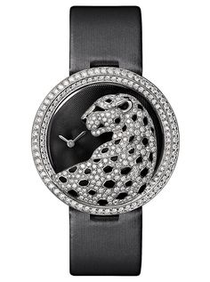 The new Cartier Panthère Divine watch, with enamel-spotted diamond pelt, set with brilliant-cut diamonds.