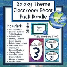 Galaxy Theme Classroom Decor Bundle Pack Space Theme Classroom, Elementary Classroom Themes, Chevron Classroom, Classroom Jobs, Classroom Organization, Classroom Management, Classroom Decor, Organisation Ideas, Spanish Classroom