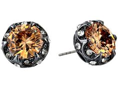 Betsey Johnson CZ Crystal Ruffled Halo Stud Earrings Topaz/Hematite - Zappos.com Free Shipping BOTH Ways
