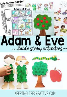 FREE printable Bible Story activities for teaching Adam and Eve