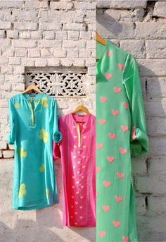 Casual kurtis. i like pink hearts on green.