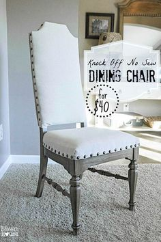 How to create Pottery Barn and Restoration Hardware knock off no sew dining chairs using 1970s castoff chairs. #diydiningchairs #furnitureredo