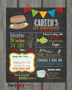 Fishing First Birthday Chalkboard Poster by PartyInvitesAndMore