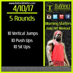 Your Morning Starter Daily #hiit #workout for today.  #wod #crossfit   Don't forget to check out BPI Sports and visit Go to http://www.davinciathletics.com/BPI and use discount code ANDRESM for 20% off your order   Subscribe ,Like and follow Us: DaVinci Fitness and Performance http://www.davinciathletics.com/ Facebook https://www.facebook.com/davincifitnessandperformance?utm_campaign=crowdfire&utm_content=crowdfire&utm_medium=social&utm_source=pinterest Instagram…