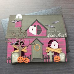 House Shaped Cards (Honey Bee Stamps) - New Deko Sites Halloween House, Halloween Cards, Holidays Halloween, Halloween Fun, Halloween Tutorial, Set Honey, Girls Dollhouse, Honey Bee Stamps, Bee Cards