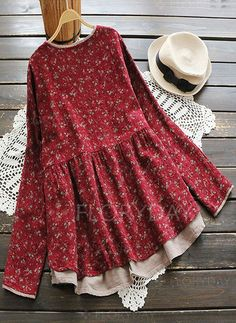 O-NEWE Vintage Floral Printed V-Neck Fake Two-Piece Shirt fashion chic – Fashions Frock Fashion, Indian Fashion Dresses, Girls Fashion Clothes, Teen Fashion Outfits, Girl Fashion, Girls Dresses Sewing, Stylish Dresses For Girls, Jugend Mode Outfits, Kurta Designs Women