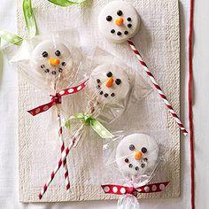 Chocolate covered Oreo snowmen!