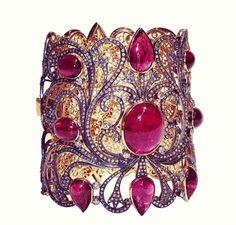 Jaipur gems .Lacy cuff with tourmaline,diamonds and blackened gold