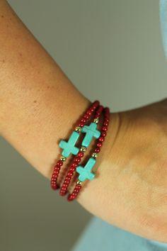 Turquoise Cross Bracelet, Red