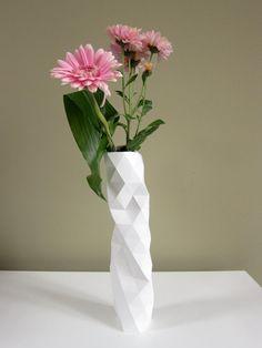 Handmade white vase with facet shapes. By BorMerk