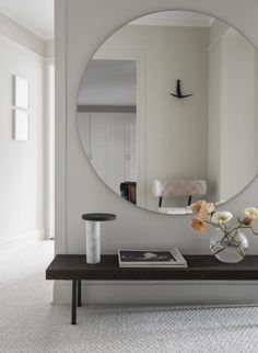 Hall mirror with shelf hallway mirror with shelf best ideas on entryway hall intended for large . hall mirror with shelf entryway mirror ideas Asian Wall Mirrors, Round Mirrors, Large Round Mirror, Hallway Mirror, Mirror With Shelf, Mirror House, Decoration Design, Decor Interior Design, Home Decor