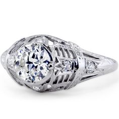 18K White Gold The Tia Ring, large top view