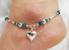 Anklet, Ankle Bracelet, Love Heart Charm, Customized Birthstone, Swarovski Crystal, Birthday, Gift, Beach, Vacation, Valentine, Wedding