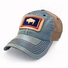 Wyoming Flag Patch Trucker Hat, Americana Blue