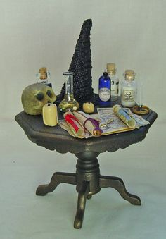 Dolls house Miniature filled Witches Table. £18.00, via Etsy.