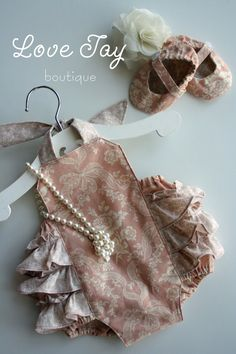 """Baby Girl Sunsuit Ruffle Romper """"Peaches n Cream"""" Vintage style...Love Tay Boutique. $39.00, via Etsy."""