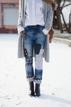 patchwork jeans damen damenmode