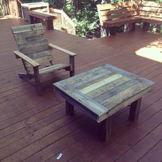 Patio chair and coffee table made from pallet wood.