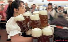 German Woman know how to serve beer!