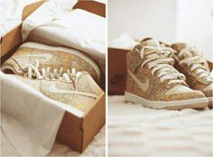 Sparkly Nike high top sneakers.