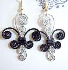 Fleur de lis Dangle Earrings in Black and Silver by melissawoods, $15.00