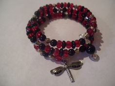 Memory wire, red & black, dragonfly, bracelet  sold