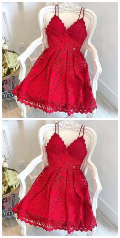 Red lace v neck short prom dress, homecoming dress, Shop plus-sized prom dresses for curvy figures and plus-size party dresses. Ball gowns for prom in plus sizes and short plus-sized prom dresses for Red Homecoming Dresses, Hoco Dresses, Dresses For Teens, Trendy Dresses, Dance Dresses, Cute Dresses, Dress Outfits, Fashion Dresses, Formal Dresses