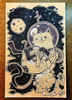 Space Cat - Original Pen & Ink Illustration. $125.00, via Etsy.
