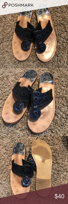 Glitter Sandals Super cute navy sparkly Jack Rogers. Gently worn with plenty of life left! Jack Rogers Shoes Sandals