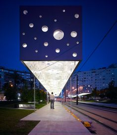 Floating lamp at Tram stop in Alicante, designed by SUBARQUITECTURA #architecture
