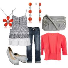 Coral & Gray---nice color combo!  Abbey, created by bszjacks.polyvore.com