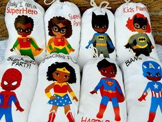 Favor Bags African American Superheros Birthday Party or School events for Treat's or gift Can be personalized X or X Qty 8 Superhero Baby Shower, Superhero Birthday Party, Birthday Favors, Girl Birthday, Birthday Ideas, Birthday Stuff, Birthday Gifts, Happy Birthday, Wonder Woman Party