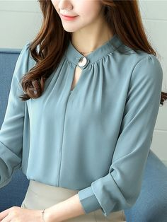 Casual Chiffon O-Neck Solid Color Office Shirt - Office Outfits Blouse Styles, Blouse Designs, Sleeves Designs For Dresses, The Office Shirts, Chiffon Shirt, Chiffon Blouses, Shirt Blouses, Chiffon Tops, Blouses For Women