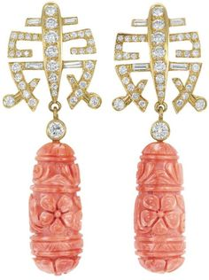 31 Pair of Gold Diamond and Carved Coral Pendant-Earrings