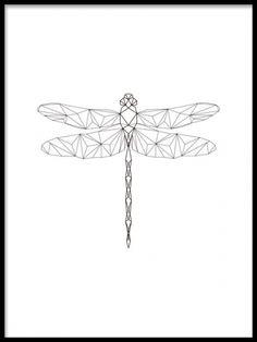 Affisch med trollslända i geometrisk form. Tavla med svartvit grafisk insekt.