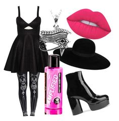 Pink Egyptian Witch by urbanawitch on Polyvore featuring polyvore fashion style Rare London WithChic Marc Jacobs Journee Collection Maison Michel Lime Crime Manic Panic NYC clothing