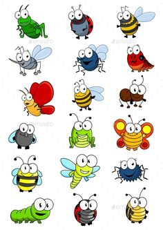Cartooned insects set with bee wasp hornet caterpilllar grashopper ladybug Bug Cartoon, Cartoon Drawings, Easy Drawings, Animal Drawings, Drawing For Kids, Art For Kids, Bugs Drawing, Happy Paintings, Rock Crafts