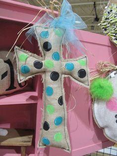 Burlap Cross with Polka Dots Door Hanger by Burlapulous on Etsy, $28.00
