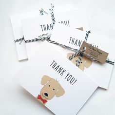 Thank You Postcards, Thank You Notes, Thank You Cards, Birthday Thanks, Boy Birthday, Birthday Parties, Animal Birthday, Goldendoodle, Card Stock