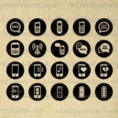 Printable Cell Phone Icon Circles Collage Sheet Digital Image Mobile Phone Download Graphic Antique Clip Art for Transfers HQ 300dpi No.4442