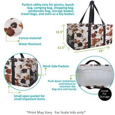 Tote Storage, Storage Baskets, Large Utility Tote, Sand Toys, Toy Basket, Craft Bags, Metal Bar, Cow Print, Canvas Material
